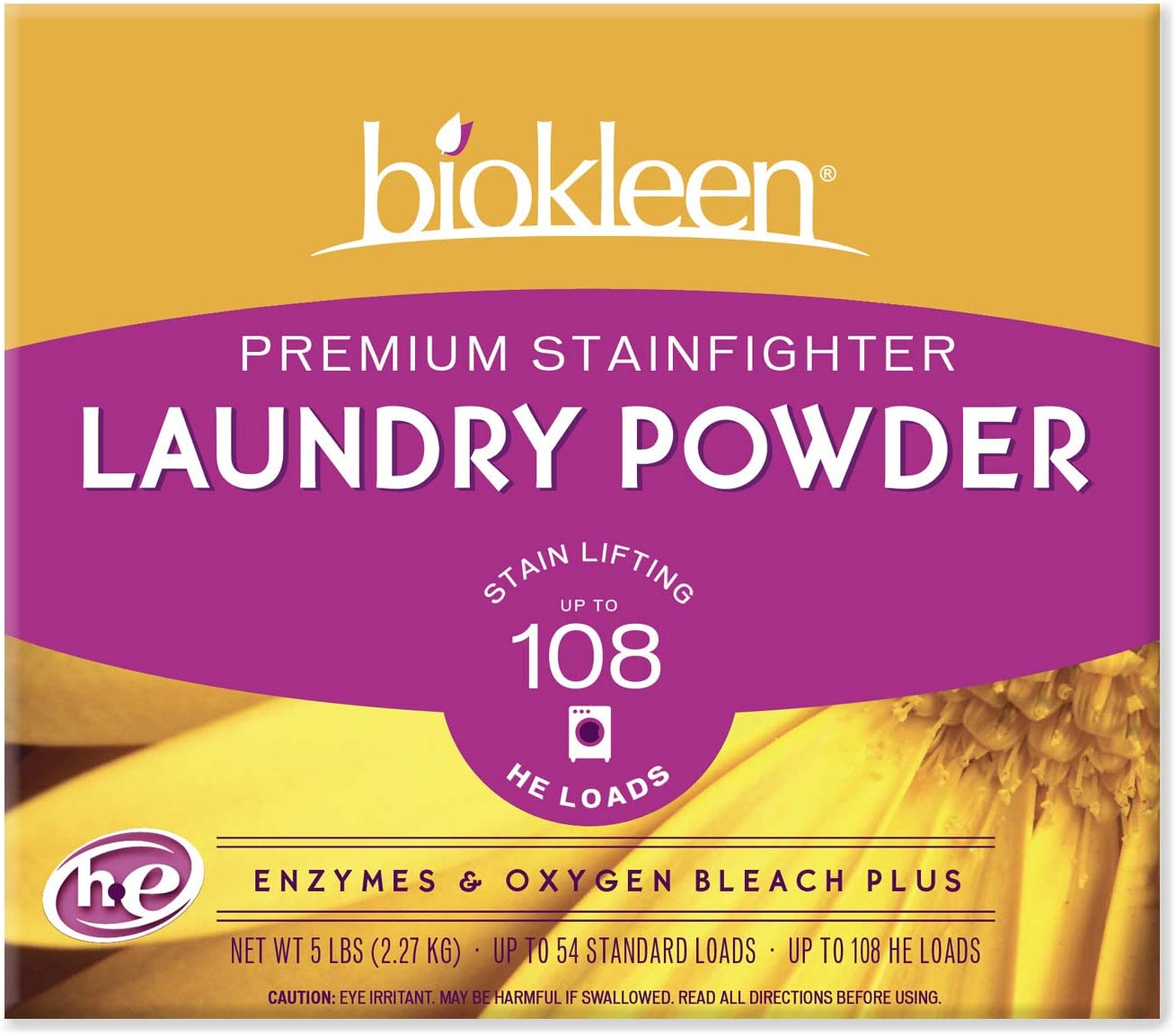 Biokleen Laundry Detergent Powder, Concentrated, Eco-Friendly, Non-Toxic, Plant-Based, No Artificial Fragrance or Preservatives, Premium Plus, 5 Pounds - 108 HE Loads/54 Standard Loads (Pack of 8)