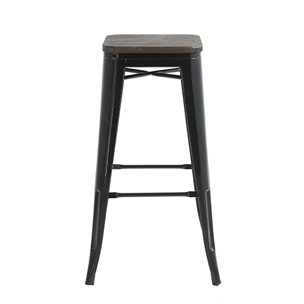 "Buschman Metal Bar Stools 30"" Bar Height, Indoor/Outdoor and Stackable, Set of 4 (Black with Wooden Seat)"