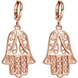 Beautiful and Cute Evil Eye Protection Reflection Hamsa Hand Amulets Gold-Tone Filigree Style Earrings