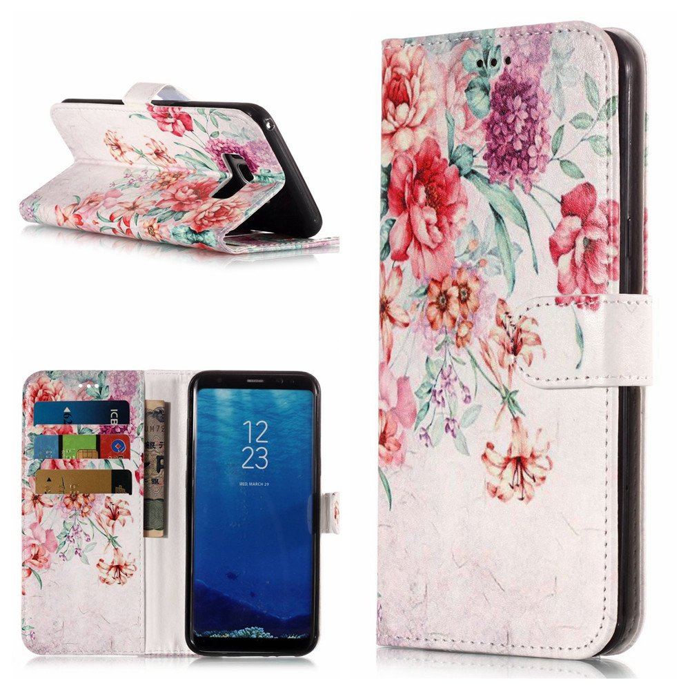 Aipyy Galaxy S8 Plus Case, Colorful [Card Slot] [Kickstand] Premium Flip Wallet PU Leather Cell Phone Case Folio Cover for Samsung Galaxy S8 Plus Flower