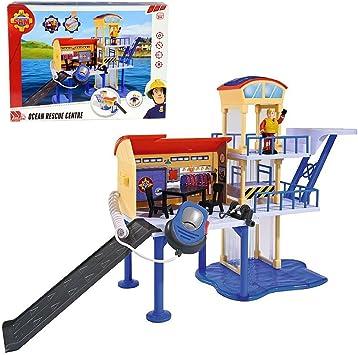 Sam El Bombero - Fireman Sam - Centro de Rescate de Agua con Micrófono, Luz y Sonido: Amazon.es: Juguetes y juegos