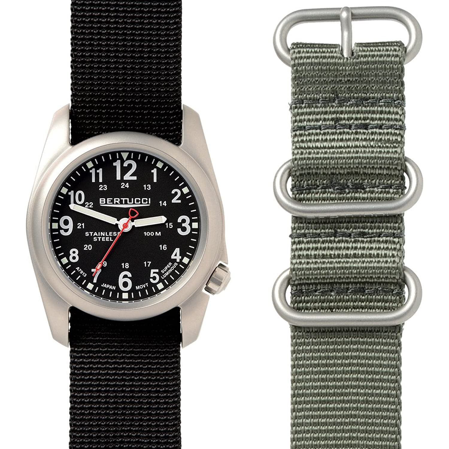Bertucci A-2S Field Watch Box Set | Black Nylon + Defender Drab Nylon 01050