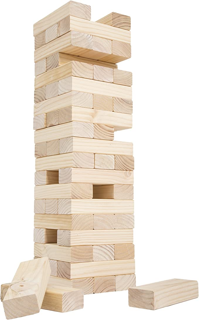 Wood Block Stacking Game Yard Wood Block Picnic Party Pool Tower Lawn Outdoor