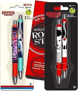 Stranger Things Gel Pen Set ~ Pack of 4 Stranger Things Pens with Bookmark (Stranger Things Office Supplies, School Supplies)
