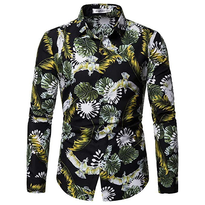8a22ef86a19 Amazon.com: Men's Long Sleeve Casual Dress Shirts Stand Collar Button Slim  Fit Summer Fashion Beach Blouse: Clothing