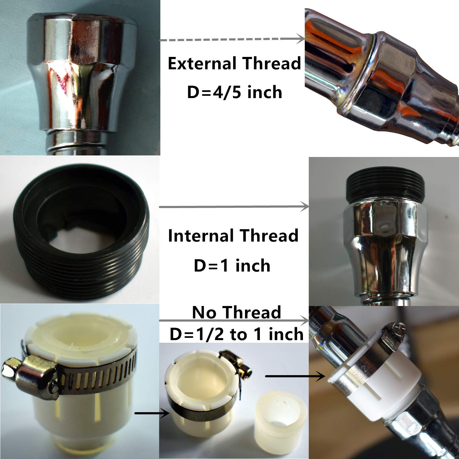 Faucet Sprayer head Attachment Flexible Tap Extension Aerator 360 Degree ABS For Kitchen Sink Cold Hot Water (silver)
