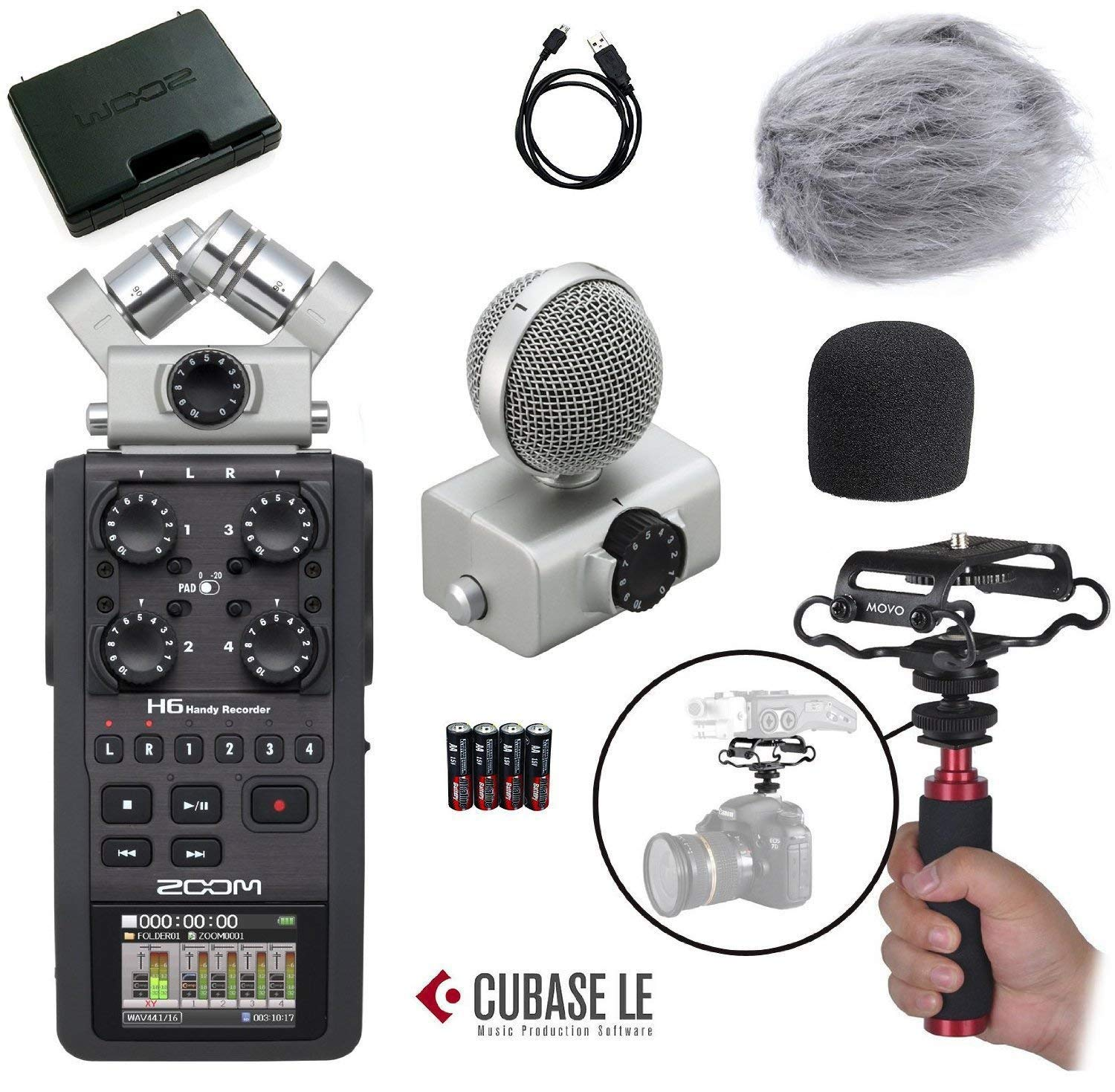 Zoom H6 Six-Track Portable Handy Recorder Kit with Deadcat Windscreen,  Shockmount, Camera Mount and Mic Grip