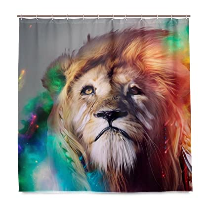 Jereee Colorful Lion Shower Curtain SetWaterproof Fabric Decorative Mildew Resistant Bath For Bathroom