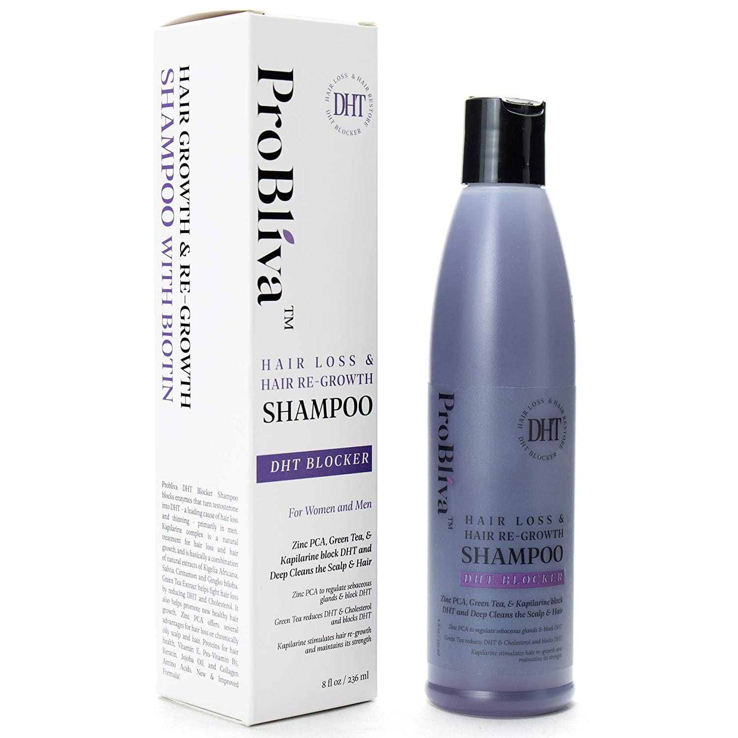 ProBliva DHT Blocker Hair Loss & Hair Re-Growth Shampoo - DHT Blocker for Men and Women
