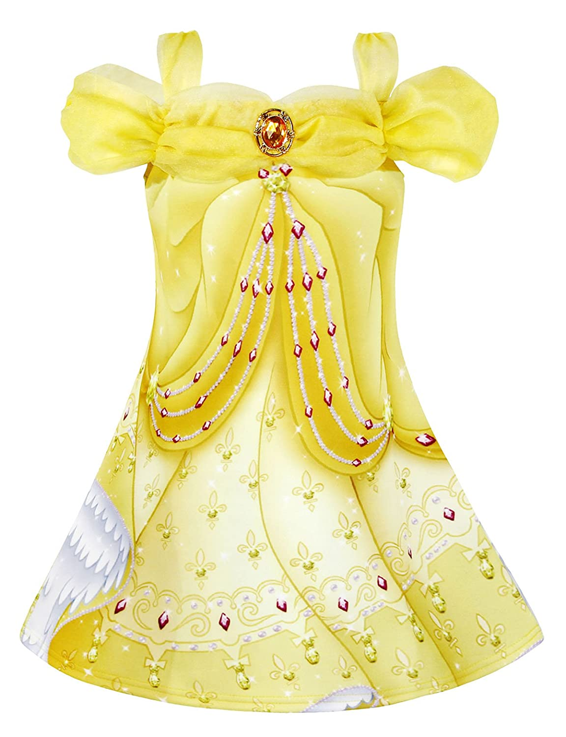 AmzBarley Princess Belle Costume for Girls Fancy Party Deluxe Beauty Kids Christmas Dress up Outfits