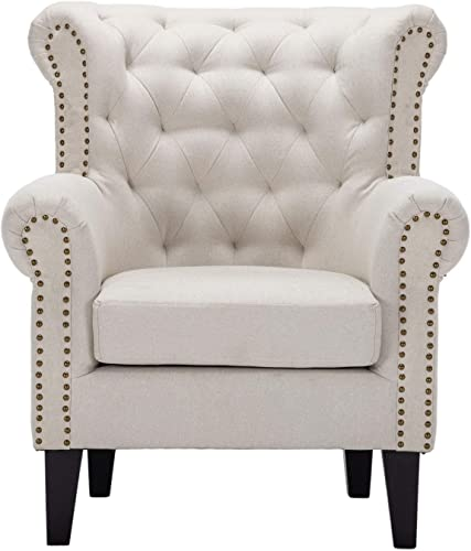 Accent Chair Oversized Armchair Bedroom Chairs Wing Back Armchair Linen Fabric