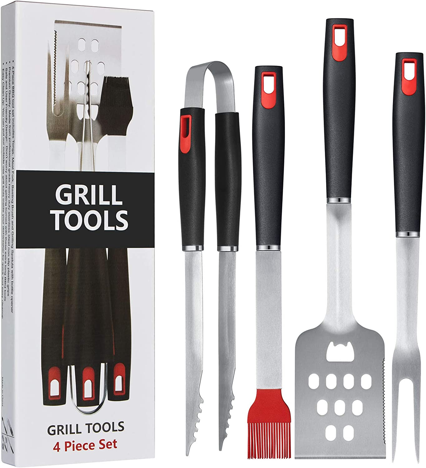 Homissor BBQ Grilling Tools Set, Stainless Steel Spatula, Fork, Basting Brush&Tongs, Gift Box Package.Best for Barbecue & Grill.18 Inch Utensils Turner Accessories : Garden & Outdoor