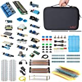 HSU Development Kit for Raspberry Pi 3 Pi 4 and Arduino with 16 Different Sensor Modules,Hundreds Electronic Components,Other Necessary Accessories and Big Carrying Case (Advanced)