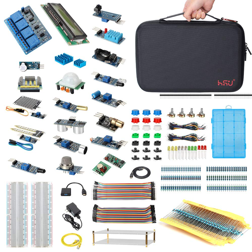 HSU Development Kit for Raspberry Pi 3 and Arduino with 16 Different Sensor  Modules,Hundreds Electronic Components,Other Necessary Accessories and Big