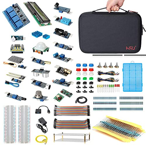 HSU Development Kit for Raspberry Pi 3 and Arduino with 16 Different Sensor Modules,Hundreds