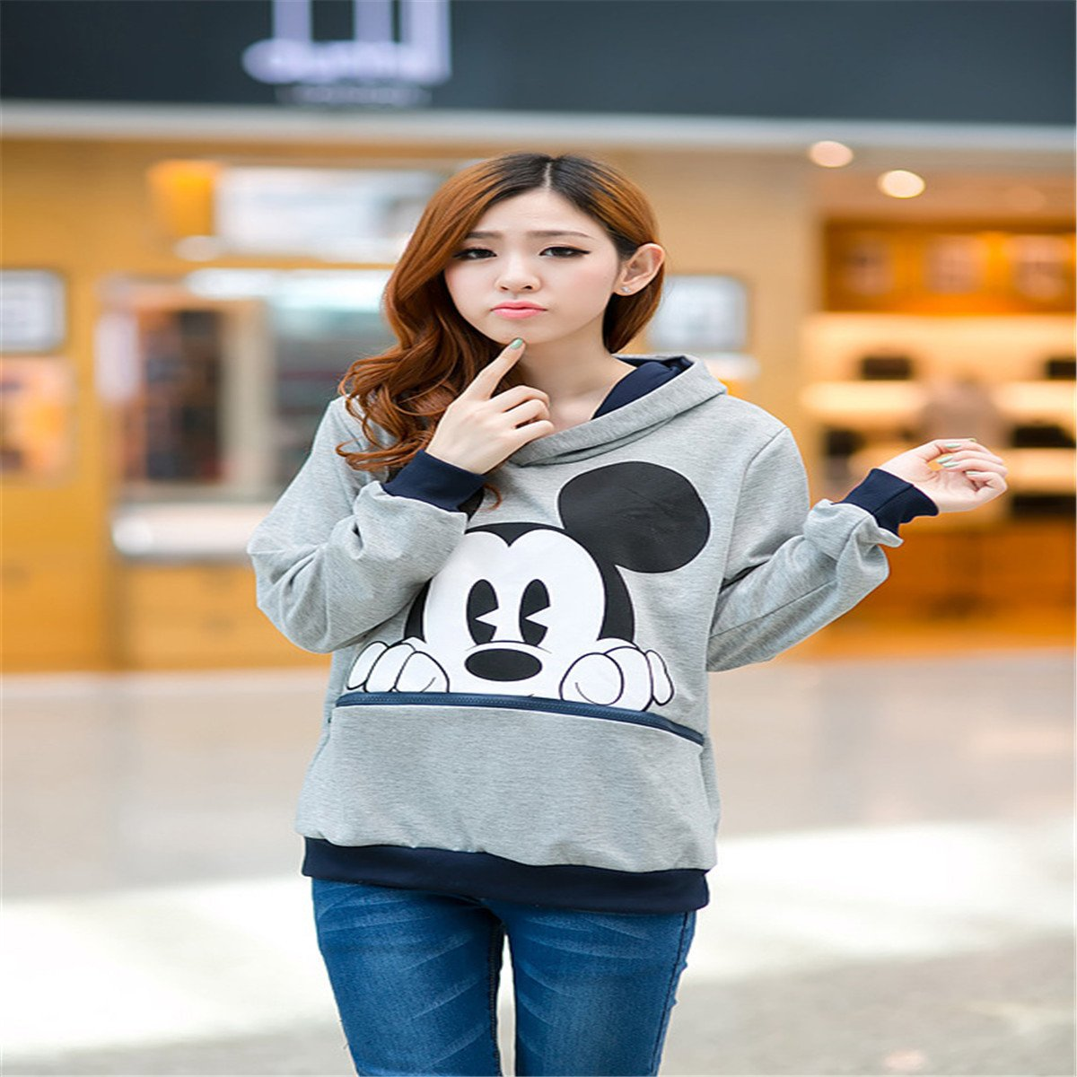 8c3e6efa11db8 reine à la mode- Fashion Sweats à capuche de Femme Casual Mickey Mouse (S,  Gris): Amazon.fr: Vêtements et accessoires