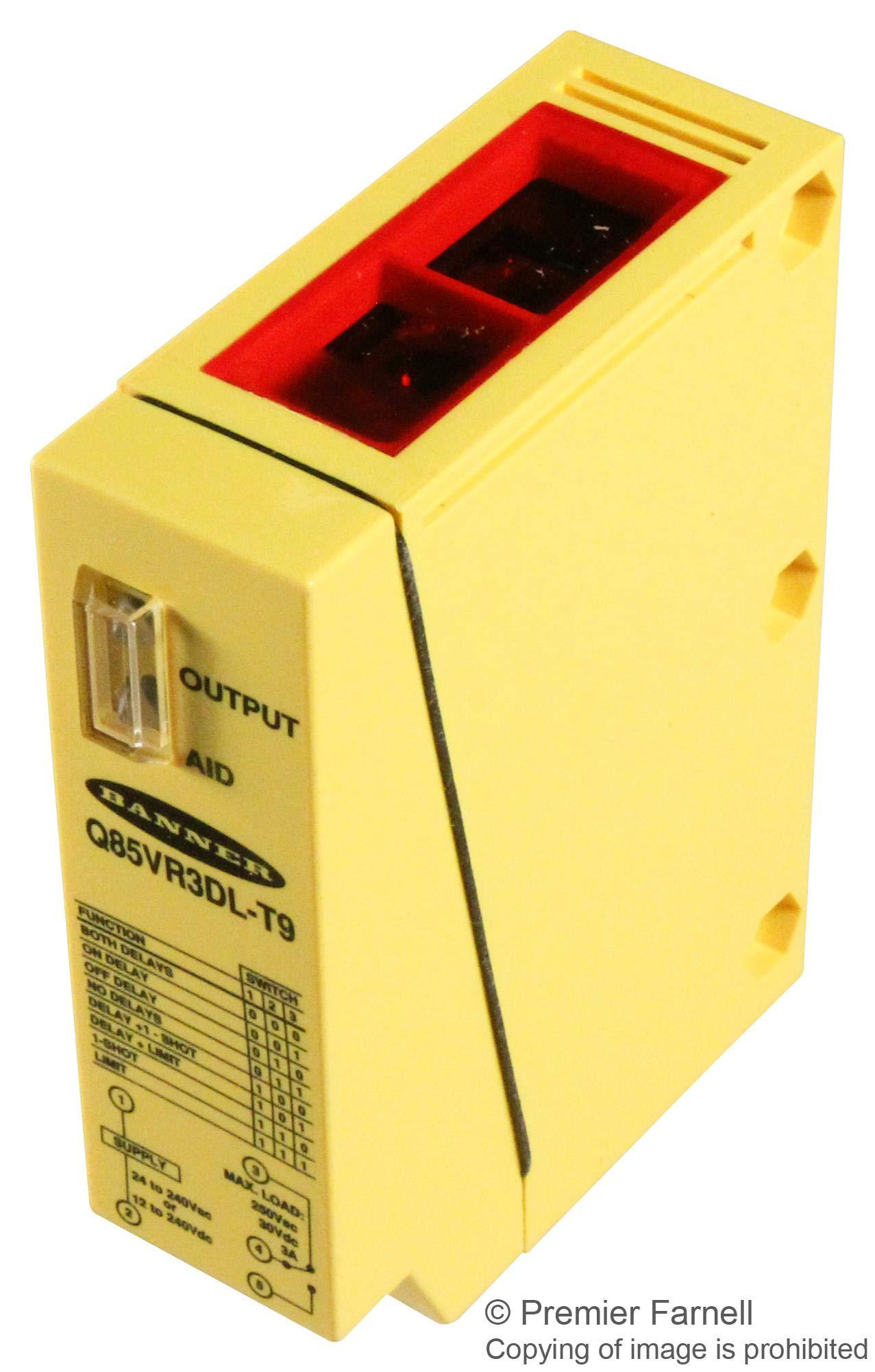 Q85VR3DL-T9 - Photoelectric Sensor, Q85 Series, Diffuse, 1 m, Relay, 12 Vdc to 240 Vdc (Q85VR3DL-T9)