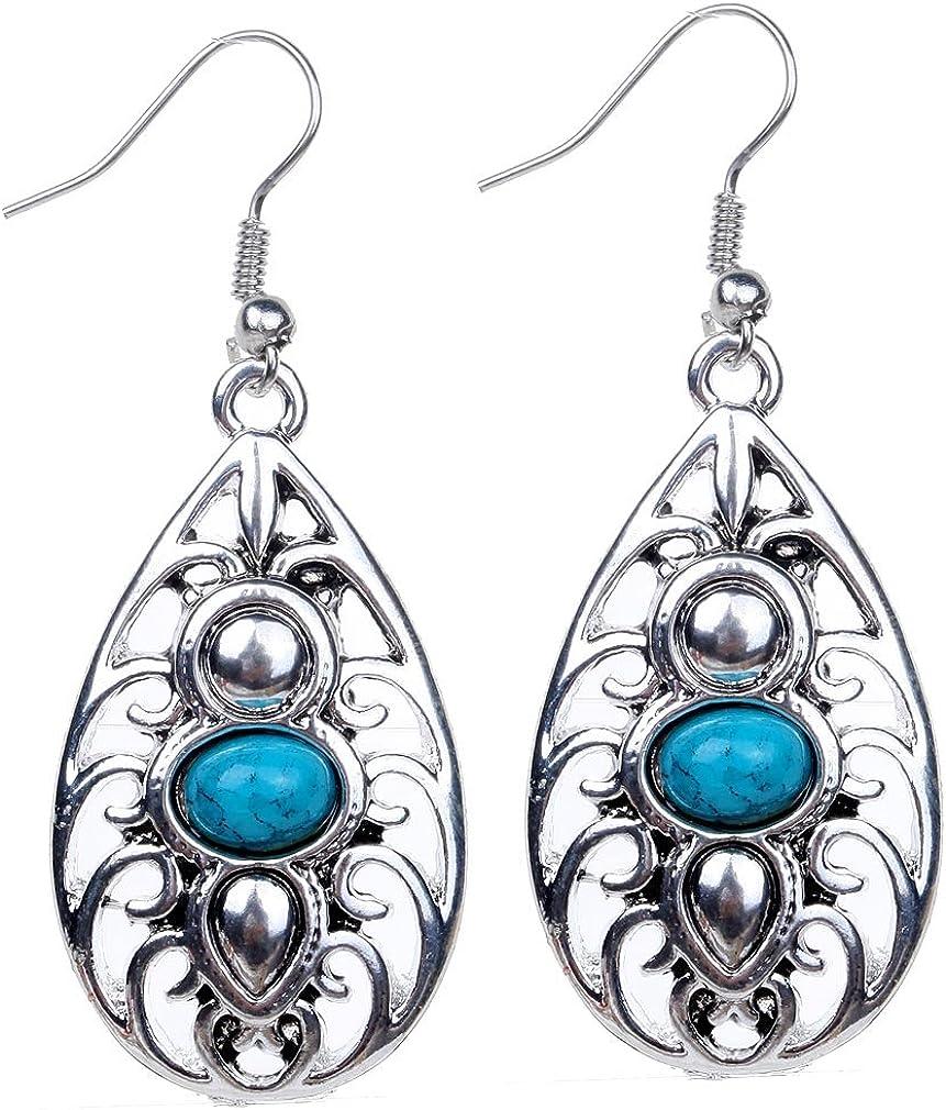Yazilind vendimia de plata tibetana del óvalo azul turquesa hueco de salida cuelgan los pendientes del gancho de la gota mujeres de regalo
