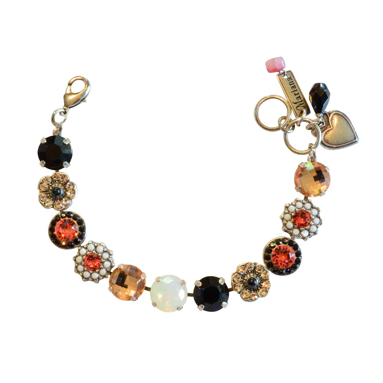 Mariana ''Pomegranate'' Antique Silver Plated Swarovski Crystal Tennis Bracelet, 7.5''