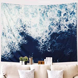 "KHOYIME Ocean Tapestry Wave Tapestries Blue Wall Art Sea Home Decor Nature Tapestry Wall Hanging for Bedroom Living Room Dorm (58""X 79"")"