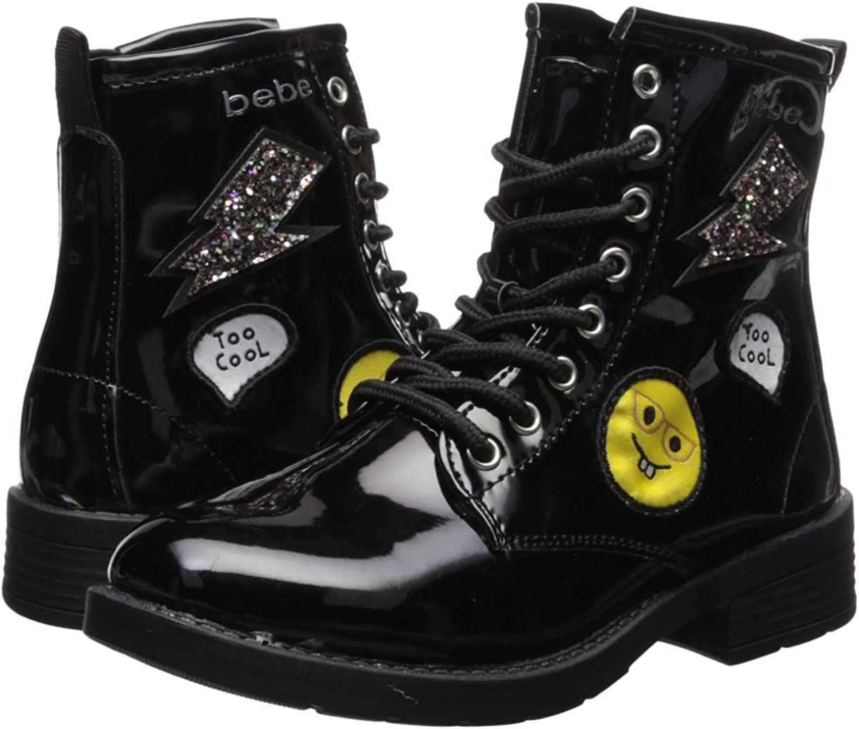 bebe Girls Patent Combat Boots with Patches