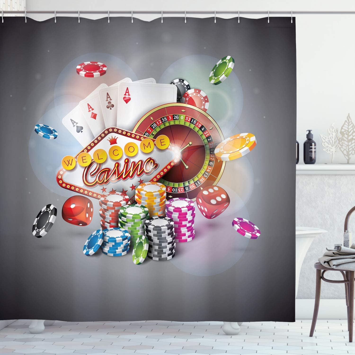 Ambesonne Poker Tournament Shower Curtain, Welcome to Casino Colorful Chips and Cards Dice and Roulette Win Jackpot, Cloth Fabric Bathroom Decor Set with Hooks, 70