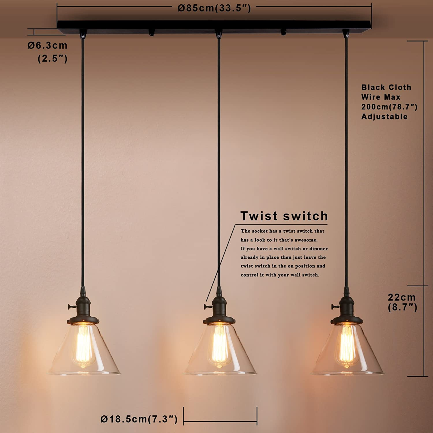 Pathson Industrial Modern Vintage Loft Kitchen Bar 3 Lights Fittings Wiring A Light Fixture To Wall Switch Ceiling Chandelier Cone Clear Glass