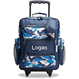 """Personalized Rolling Luggage for Kids – Blue Camo Design, 5"""" x 12"""" x 20""""H, By Lillian Vernon"""