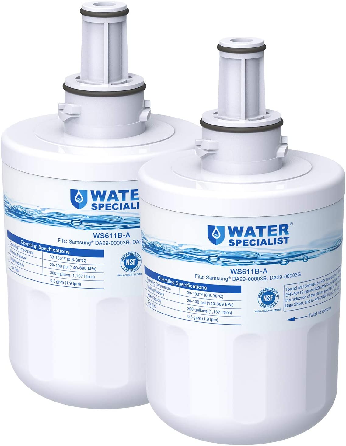 Waterspecialist NSF 53&42 Certified DA29-00003G Refrigerator Water Filter, Replacement for Samsung DA29-00003B, RSG257AARS, RFG237AARS, HAFCU1, RS22HDHPNSR, WSS-1 (Pack of 2)