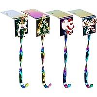 JEKOSEN 2020 Christmas Stocking Holder [Set of 4] Hanger Hook Fireplace/Mantel Multi Rainbow Color Plating Hook with…