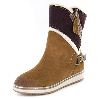WHITE MOUNTAIN Womens Teague Suede Colorblock Winter Boots | Boots