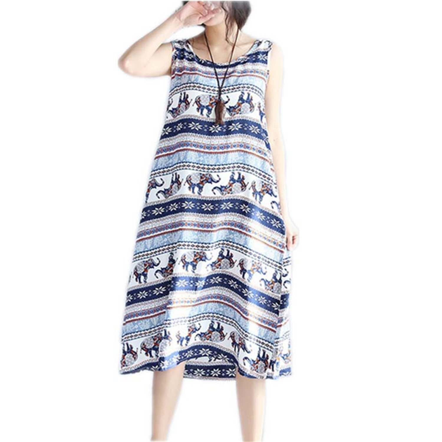 Amazon.com: WalterTi Fashion vintage print women casual summer dress vestidos femininos party dresses: Clothing