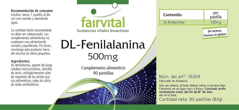 DL-fenilalanina 500mg - A GRANEL durante 3 meses - vegano - ALTA DOSIS - 90 tabletas - DLPA: Amazon.es: Salud y cuidado personal