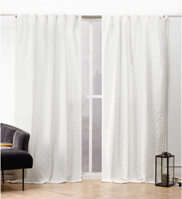 Nicole Miller Trellis Matelassé Curtain Panel, 54x84, Snowflake, 2 Panels