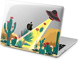 "Cavka Hard Shell Case for Apple MacBook Pro 13"" 2019 15"" 2018 Air 13"" 2020 Retina 2015 Mac 11"" Mac 12"" UFO Green Plastic Plants Exotic Design Funny Cover Alien Cute Cactus Print Protective Laptop"