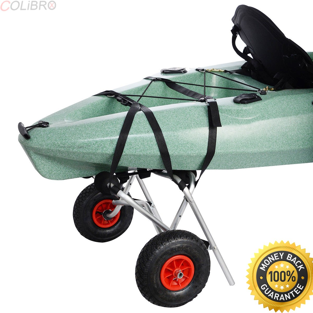 COLIBROX--New Aluminum Kayak Jon Boat Canoe Gear Dolly Cart Trailer Carrier Trolley Wheels. Solid aluminum frame. Large Load capacity. best Gear Dolly Cart sale on amazon. bass pro deer cart