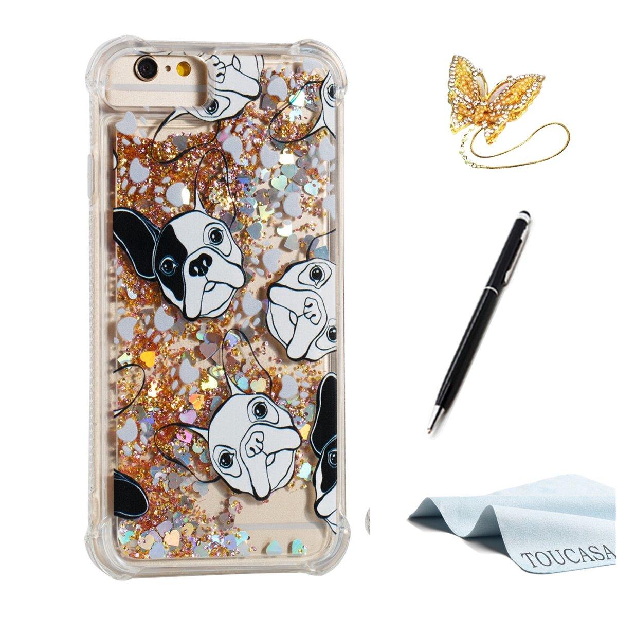 TOUCASA Funda iPhone 6S,Funda iPhone 6, Glitter Brillante Liquida Transparente TPU Silicona,Funda Móvil Case Líquido Quicksand Anti-arañazos Brillante Case ...