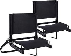 Ohuhu Stadium Seats Bleacher Seat Chairs with Backs and Cushion, Folding & Portable, Bonus Shoulder Straps