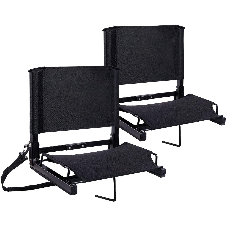 Stadium Seats Ohuhu Bleacher Chairs Seat with Backs and Cushion, Folding & Portable, Bonus Shoulder Straps, 2 Pack by Ohuhu