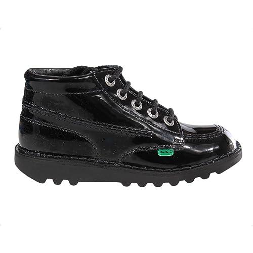 c85e88f1 Kickers Kick Hi Patent Junior Girls School Shoe Boot Black: Amazon ...