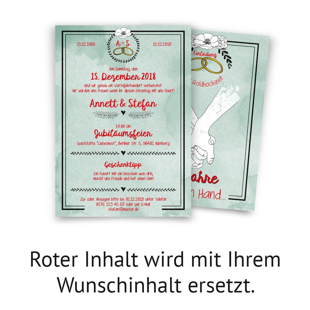 20 x Hochzeitseinladungen Silberhochzeit silberne Hochzeit Einladung Hand in Hand