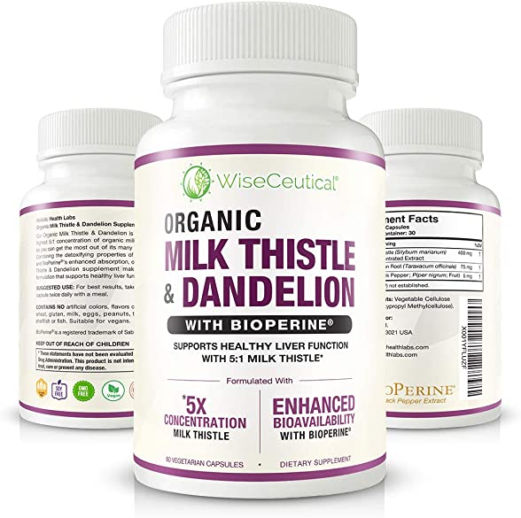 Max Absorption Organic Milk Thistle Strongest 5 1 Concentrated Extract Organic Dandelion Root with BioPerine Hangover Prevention Relief – Liver Support and Alcohol Detox. 60 Veggie Capsules.