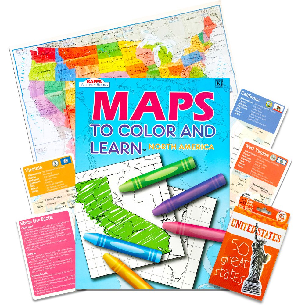 Kappa Map Group US Map Learning Set USA Wall Map Poster North America Map Coloring Book States and Capitals Flash Cards Kappa United States Coloring Map Set