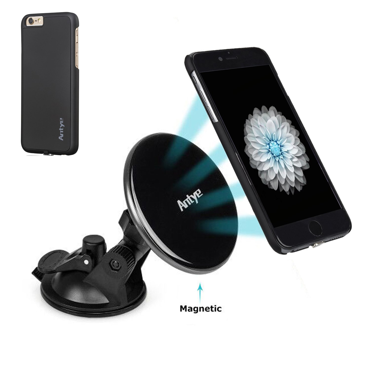 Antye Magnetic Qi Wireless Charger Car Mount for iPhone 6 Plus/6S Plus, [2-in-1] Qi Wireless Charging Dock Cradle Suction Holder & Wireless Charging Receiver Case for iPhone 6 Plus/6S Plus, Black