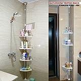 DNY© 120cm-300cm 4 Tier Adjustable Stainless Telescopic Shower Corner Bathroom Shelf Rack Caddy - Heavy Duty