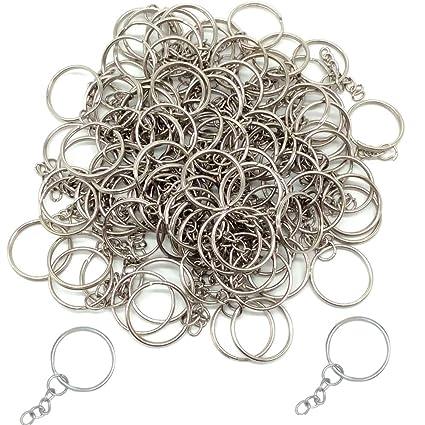 Baoii Llavero de 50 piezas con cadena de metal con 4 cadenas de eslabones y 50 anillas abiertas para hacer manualidades