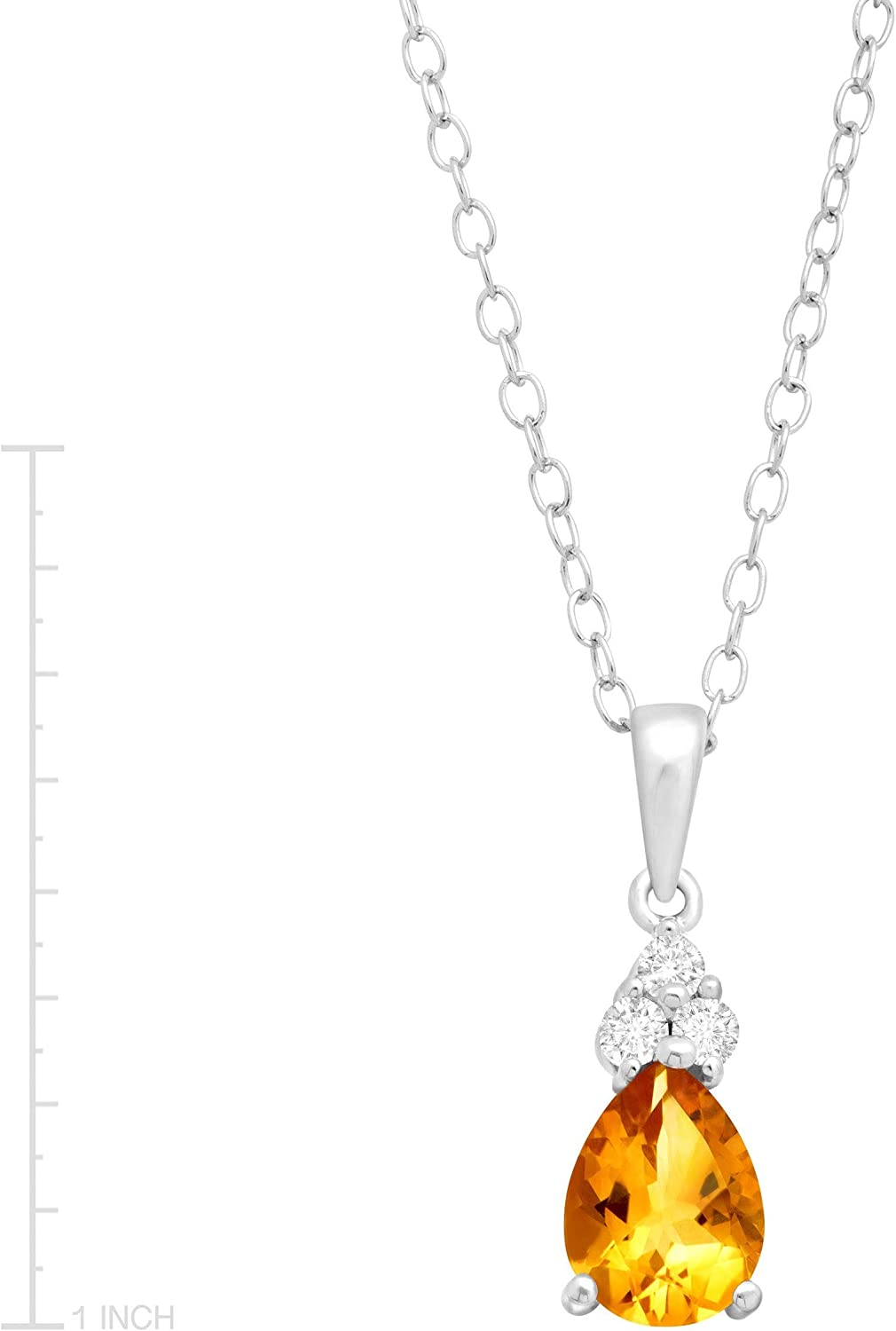 Oval Yellow Citrine 18K White Gold Plated Flower Pendant Necklace Curb Chain