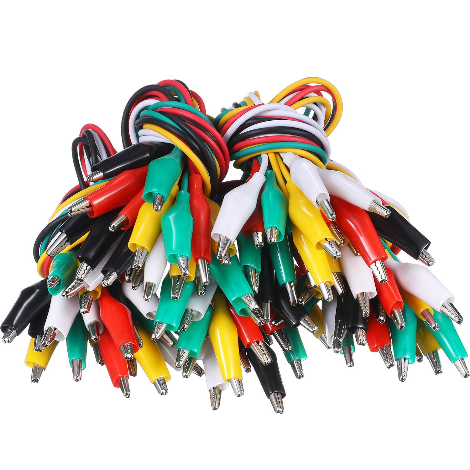 Gejoy 50 Pieces 19.7 Inch Test Leads Kit with Alligator Clips Double-end Alligator Clips Jumper Wires