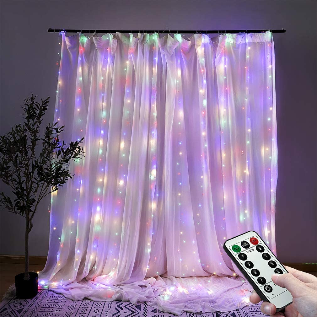 Beewin Window Curtain String Light 300 LED 8 Lighting Modes Fairy Lights Remote Control USB Powered Waterproof Lights for Christmas Bedroom Party Wedding Home Garden Wall Decorations(Multicolor)