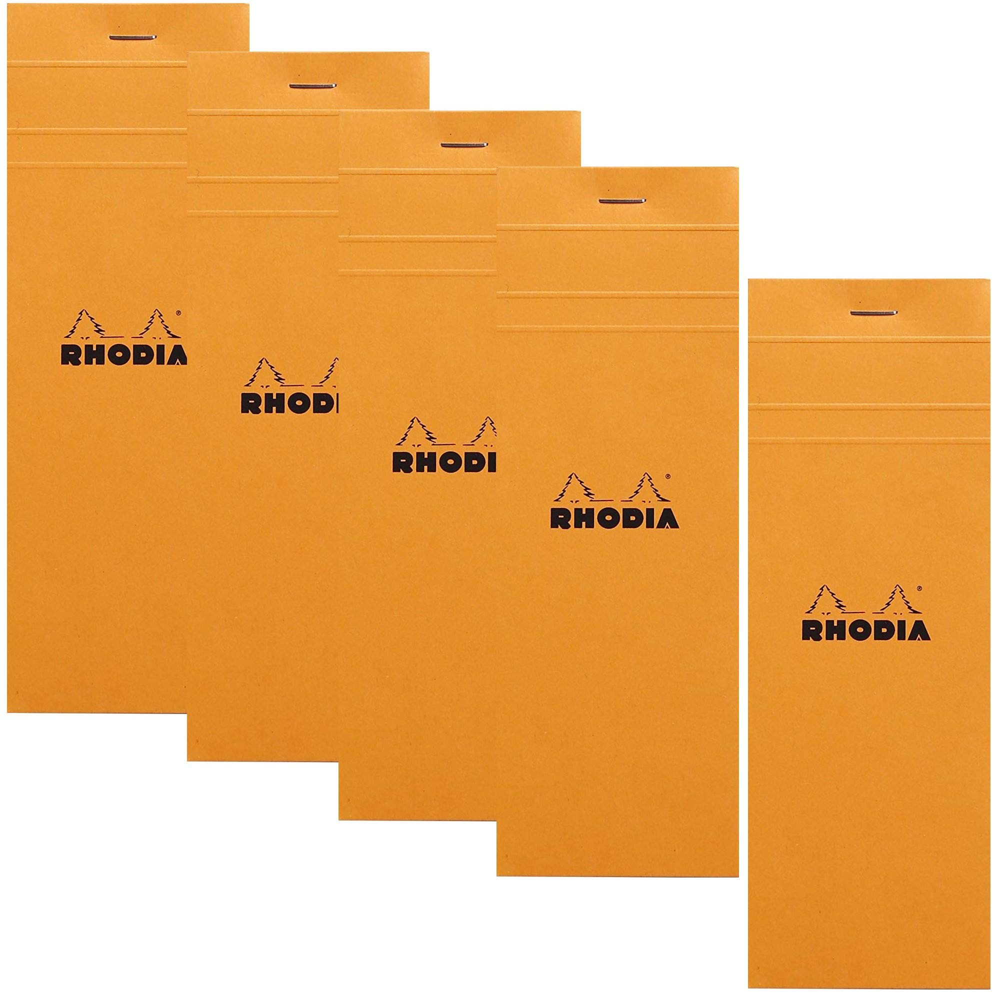 Rhodia Staplebound Notepad - Graph 80 sheets - 3 x 8 1/4 - Orange cover, Pack of 5